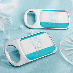 Personalized Silver Bottle Opener with Epoxy Dome – He Asked, She Said Yes