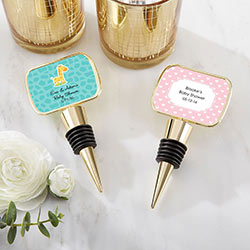 Personalized Gold Bottle Stopper with Epoxy Dome - Baby Shower
