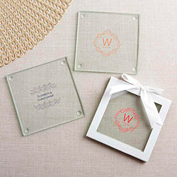 Personalized Glass Coasters - Modern Romance (Set of 12)