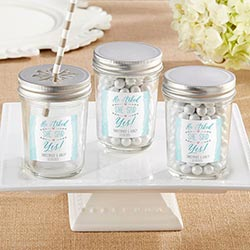 Personalized Mason Jar – He Asked, She Said Yes (Set of 12)