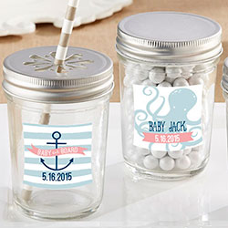 Personalized Glass Mason Jar - Kates Nautical Baby Shower Collection (Set of 12)