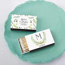 Personalized Black Matchboxes - Botanical Garden (Set of 50)