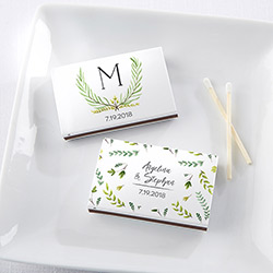 Personalized White Matchboxes - Botanical Garden (Set of 50)