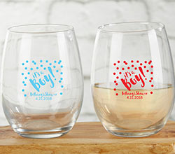 Personalized 9 oz. Stemless Wine Glass - Its a Boy!
