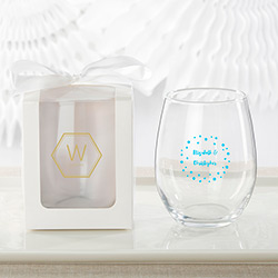 Personalized 9 oz. Stemless Wine Glass - Modern Classic