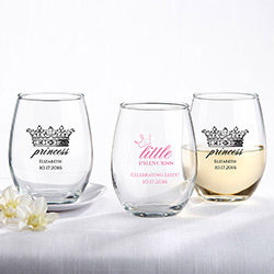 Personalized 9 oz. Stemless Wine Glass - Little Princess