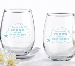 Personalized 9 oz. Stemless Wine Glass - To the Moon & Back