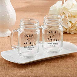 Personalized 16 Oz. Mason Jar Mug - Mr. & Mrs.