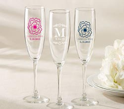 Personalized Champagne Flute - Botanical