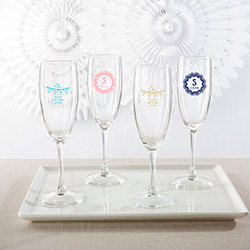 Personalized Champagne Flute - Rustic Charm Baby Shower