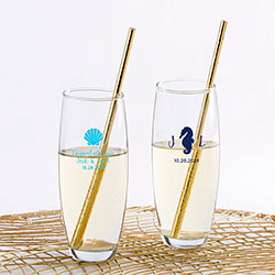 Personalized 9 oz. Stemless Champagne Glass - Seaside Escape