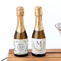 Personalized Mini Wine Bottle Labels - Botanical Garden