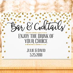 Personalized Sign (18x12) - Gold Glitter Wedding